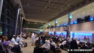 Pilgrims waiting to board the plane in Abu Dhabi