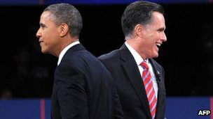 Barack Obama and Mitt Romney at the third presidential debate 22 October 2012