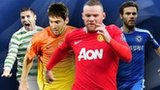 Left to right: Gary Hooper, Lionel Messi, Wayne Rooney and Juan Mata