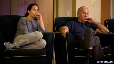 Joe Biden watches the debate with daughter Ashley Biden