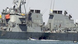 The USS Cole at the Yemeni port of Aden, after a powerful explosion ripped a hole in the US Navy destroyer, 15 October 2000