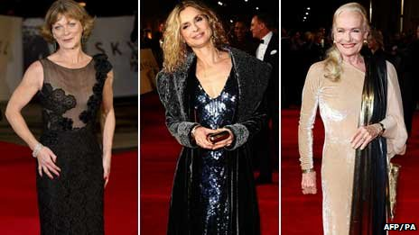Samantha Bond, Maryam d'Abo and Shirley Eaton at the royal world premiere of Skyfall at the Royal Albert Hall in London