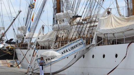 The Libertad at the port at Tema, outside Accra, Ghana