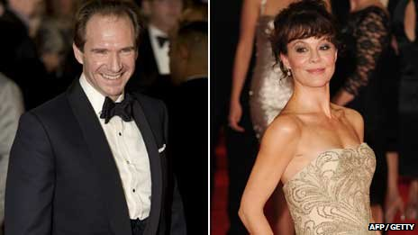 Ralph Fiennes and Helen McCrory at the royal world premiere of Skyfall at the Royal Albert Hall in London