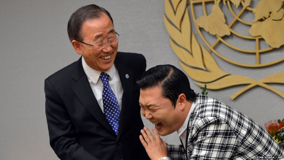 Psy (right) and Ban Ki-moon 23 October