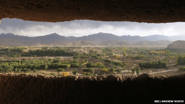 View of Bamiyan from gallery above remains of the small Buddha