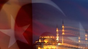 Istanbul mosque with Turkish flag in foreground