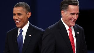 President Obama and Mitt Romney at presidential debate in Colorado