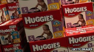Boxes of Huggies nappies