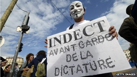 Indect protest in France