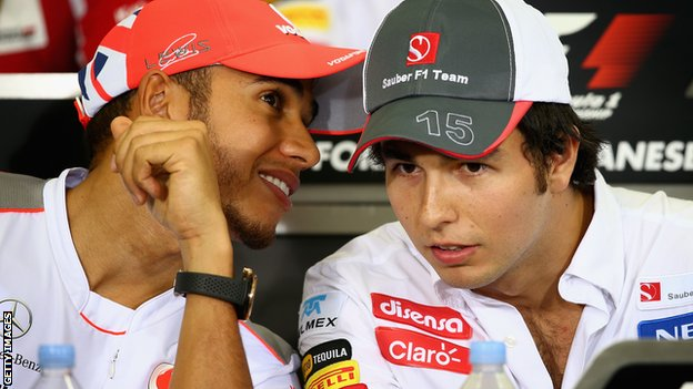 Sergio Perez (right) will replace Lewis Hamilton at McLaren next season