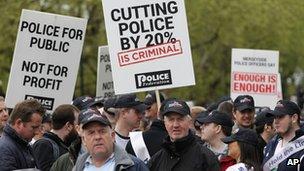 Police protesting in London