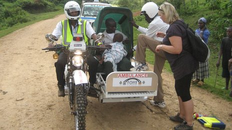A motorbike ambulance in Mbale, Uganda