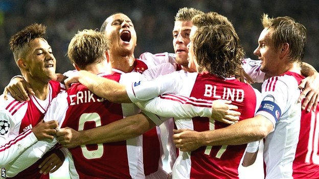 Ajax celebrate beating Manchester City