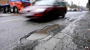 Pothole in a road