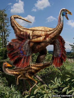 Artist&#039;s impression of ornithomimid dinosaur