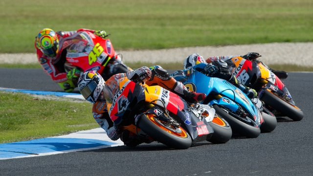 Andrea Dovizioso leads the field during the MotoGP race of the Australian MotoGP,  at Phillip Island Grand Prix Circuit.