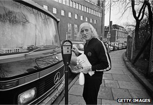 Jimmy Savile with his motor home, 1969