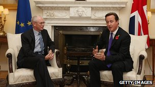 David Cameron and Herman van Rompuy in Downing Street