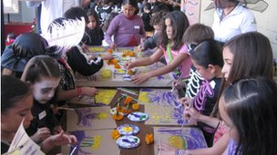 Pupils from Centro Educativo Monarca in Mexico preparing for Day of the Dead