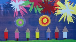 A nice piece of art by pupil Cameron - &#039;Guy Fawkes night in Folkestone&#039;