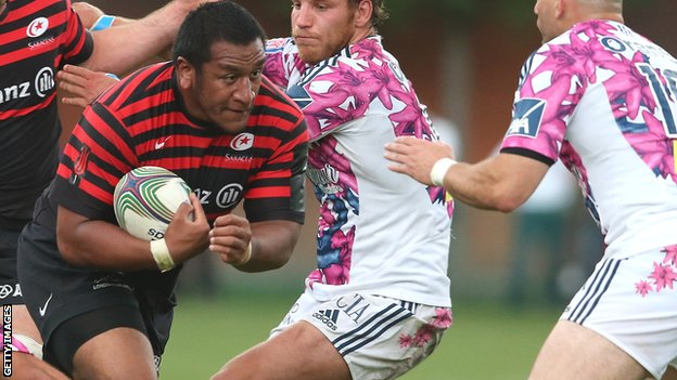Mako Vunipola on the charge against Stade Francais for Saracens