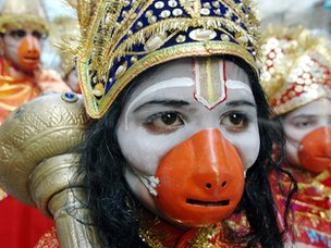 An Indian Hindu devotee dressed as Hindu God Hanuman