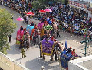 Decorated elephants in the Mysore Dussehra parade!