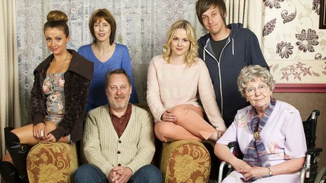 Cast of Hebburn in living room