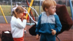Chris as a child with a cousin in Hebburn Park, 1987