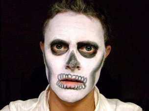 BBC reporter Stefan's Skeleton costume