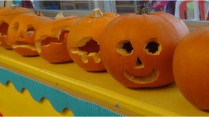 St Mary&#039;s Halloween pumpkins in Reception Class