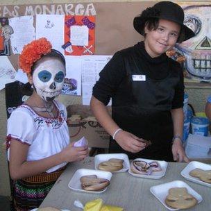 Centro Educativo Monarca pupils enjoying festival food!