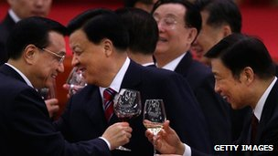 "Chinese Vice Premier Li Keqiang (L), head of the Chinese Communist Party""s Central Propaganda Department Liu Yunshan (C) and Chinese Minister of the Organisational Department Li Yuanchao (R) drink at a banquet in Beijing (29 Sept 2012)"