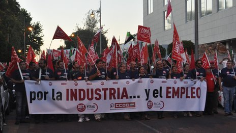 Workers from the construction sector protest in the city of Merida, Extremadura against job cuts and high levels of unemployment