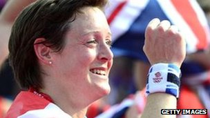 Hannah Macleod celebrates at London 2012