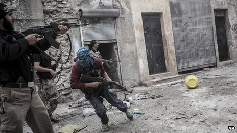 Rebel fighters in Aleppo