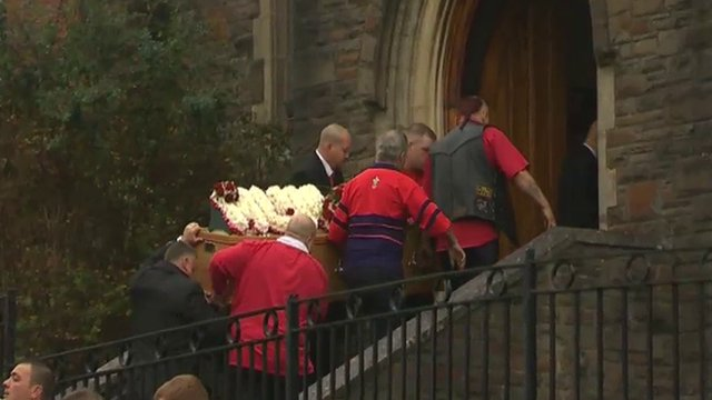 Mourners at St Gabriel's Church in Old Cwmbran