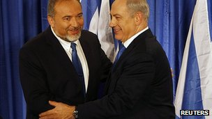 Avigdor Lieberman, left, and Benjamin Netanyahu. 25 Oct 2012