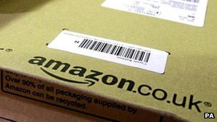 Parcel waiting to be posted from an Amazon dispatch centre in the UK
