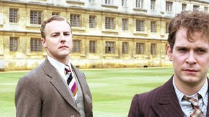 Samuel West, left, as Anthony Blunt, and Tom Hollander, right, as Guy Burgess in the BBC's Cambridge Spies