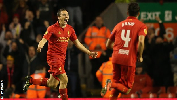 Stuart Downing scores the winner in the 1-0 over Anzhi Makhachkala