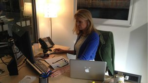 Katty Kay getting ready for the live Twitter Q&A in the BBC Washington bureau