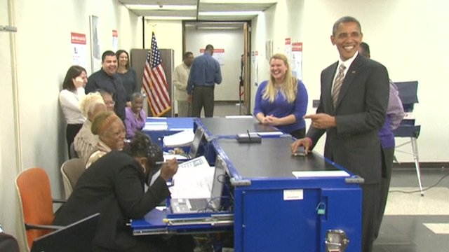 Barack Obama at polling station