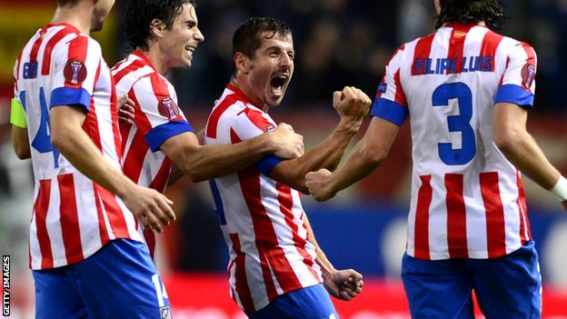 Emre celebrates his Atletico Madrid goal