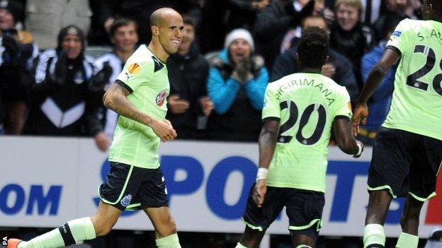 Gabriel Obertan (left) celebrates his goal