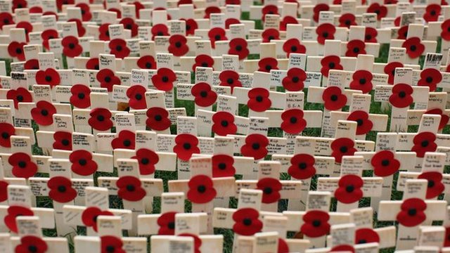Field of wooden crosses with poppies at Westminster Abbey