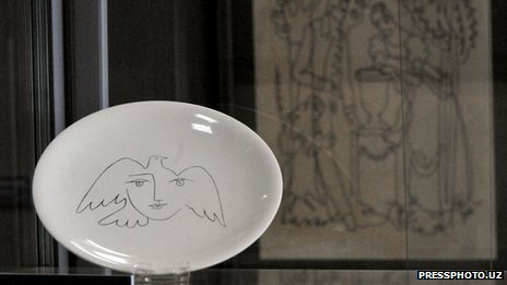 Pablo Picasso ceramic on display in Uzbekistan