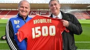 Brownlee is presented with a special shirt at Middlesbrough