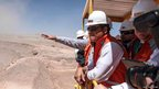 Ecuadorean President Rafael Correa visits Gaby copper mine in Calama, Chile